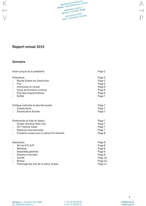 Rapport annuel KTV ATP 2015